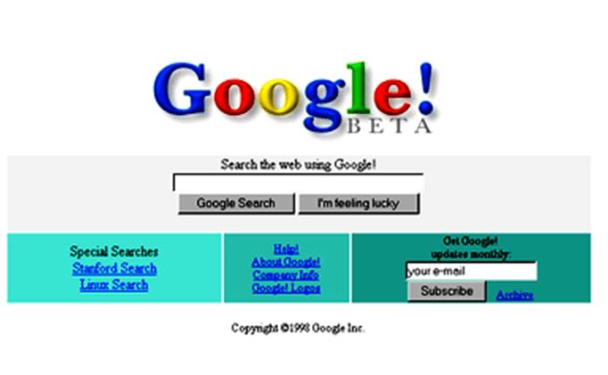 Google's original homepage, Source: Wikipedia
