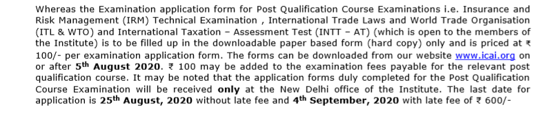 CA Foundation nov 2020 notification